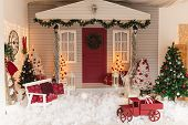 Christmas Veranda Decorations. Street Christmas Decor With Artificial Snow. poster