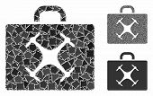 Drone Case Mosaic Of Tremulant Pieces In Different Sizes And Color Tints, Based On Drone Case Icon.  poster