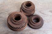 Rusty Iron Gear Wheels On A  Boards