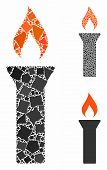 Fire Torch Mosaic Of Raggy Parts In Different Sizes And Color Hues, Based On Fire Torch Icon. Vector poster