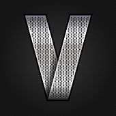 Letter metal chrome ribbon - V