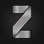 Letter metal chrome ribbon - Z