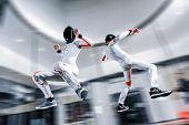 Fly Men. Skydiving Team Of Flying People In Wind Tunnel . Indoor Skydiving poster