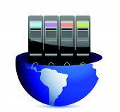 Servers and communication illustration design over white