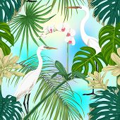 Seamless Pattern, Background. With Tropical Plants And Flowers With White Orchid And Tropical Birds  poster