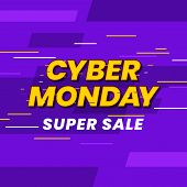 Cyber Monday Super Sale Poster Background Social Media Template Vector Illustration. Glitch Effect T poster