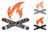 Campfire Mosaic Of Raggy Pieces In Various Sizes And Color Tinges, Based On Campfire Icon. Vector Un poster