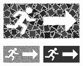 Emergency Exit Composition Of Unequal Elements In Variable Sizes And Color Tints, Based On Emergency poster