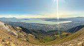 Panorama Frame Sun Shining Over Utah Valley Panorama At The Summit Looking Down poster