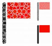 Flag Mosaic Of Joggly Elements In Variable Sizes And Shades, Based On Flag Icon. Vector Joggly Eleme poster