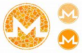 Monero Coin Mosaic Of Ragged Items In Variable Sizes And Shades, Based On Monero Coin Icon. Vector T poster