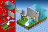 Isometric  Watermill In Production Of Energy