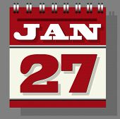 Red Or Maroon Colored Daily Leaf Calendar With The Open Page Of 27th January Isolated Grey Indicatio poster