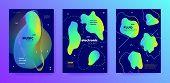 Bright Music Design. Minimal Lines. Club Concert. Colorful 3d Fluid Invitation. Blue Music Banner. G poster