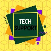 Text Sign Showing Tech Support. Conceptual Photo Advising And Troubleshooting Service Provided By A  poster