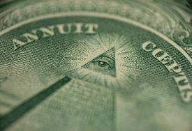 foto of freemasons  - macro of one dollar  - JPG