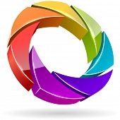 Abstract colorful photo shutter aperture 3D vector icon.