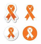 Orange ribbon - leukemia, hunger, humane treatment of animals sign
