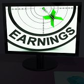 Earnings On Monitor Showing Profitable Incomes
