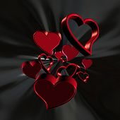 3D Red Hearts On A Black Background