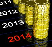 stock photo of upcoming  - Coins On 2014 Showing Upcoming Finances Or Economy - JPG