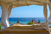 stock photo of canopy  - Beach spa gazebo with white canopy - JPG