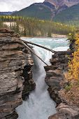 Howling Athabasca Falls in the Rocky Mountains of Canada. Cloudy day in Jasper National Park. Betwee