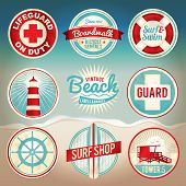 pic of lifeguard  - Vintage set of beach labels and badges - JPG