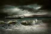 image of historical ship  - View of storm seascape with historical ship - JPG