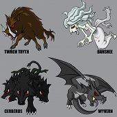 stock photo of banshee  - 4 Graphic vector set of mythical creatures - JPG