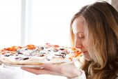 Beautiful Girl With Pizza. Enjoy The Smell Of Freshly Cooked Pizza