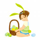 Little Girl-bunny With A Basket Of Eggs