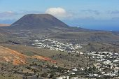 The Valley Of A Thousand Palms, Volcano Corona And  Haria Town, Lanzarote, Canary Islands, Spain