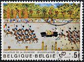 A stamp printed in Belgium shows royal Parade