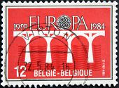 A stamp printed in Belgium dedicated to europe shows bridge