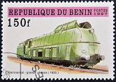 A stamp printed in Benin showing train
