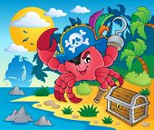 Pirate crab theme image 2 - vector illustration.