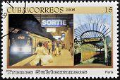 A stamp printed in Cuba dedicated to subways shows Paris subway