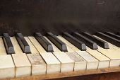Parts of an old piano keyboard