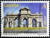 stamp printed in Spain dedicated to arches and monumental gates shows Puerta de Alcala in Madrid