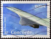 A stamp printed in France shows Concorde
