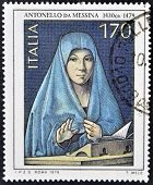 A stamp printed in Italy shows a painting by Antonello da Messina