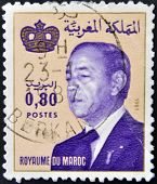 A stamp printed in Morocco shows King Hassan II (Moulay Hassan II Muhammad ben Yusuf)