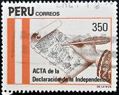A stamp printed in Peru shows The minutes of the declaration of independence