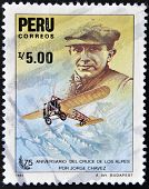 stamp printed in Peru dedicated to anniversary of the crossing of the Alps by Jorge Chavez