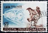 stamp printed in Romania show Sputnik 2 and Laika