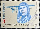 stamp printed in Romania show Charles Lindbergh Spirit of St. Louis