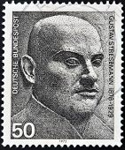 A stamp printed in Germany shows Gustav Stresemann