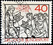 stamp printed in Germany shows Thomas Aquinas