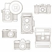 Vintage photo cameras set. Vector illustration.